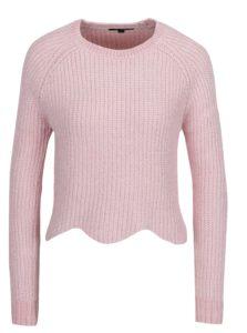 Svetloružový krátky sveter s tvarovaným golierom TALLY WEiJl