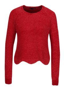 Červený krátky sveter s tvarovaným lemom TALLY WEiJL
