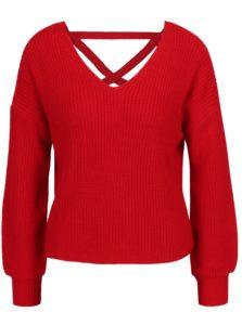 Červený sveter so šnurovaním Miss Selfridge