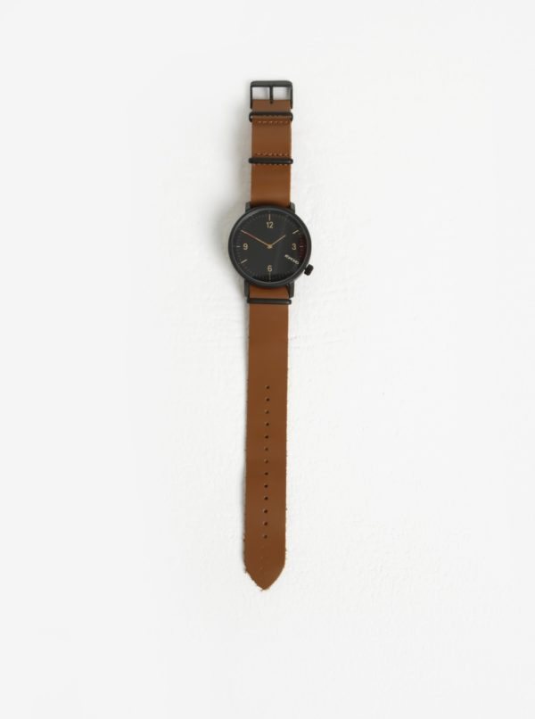 Čierne pánske hodinky s hnedým koženým remienkom Komono Magnnus
