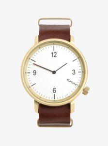 Pánske hodinky v zlatej farbe s koženým remienkom Komono Magnnus