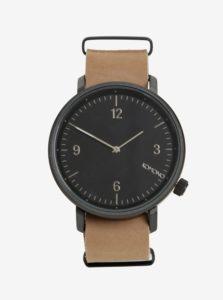 Čierne pánske hodinky s béžovým koženým remienkom Komono Magnnus