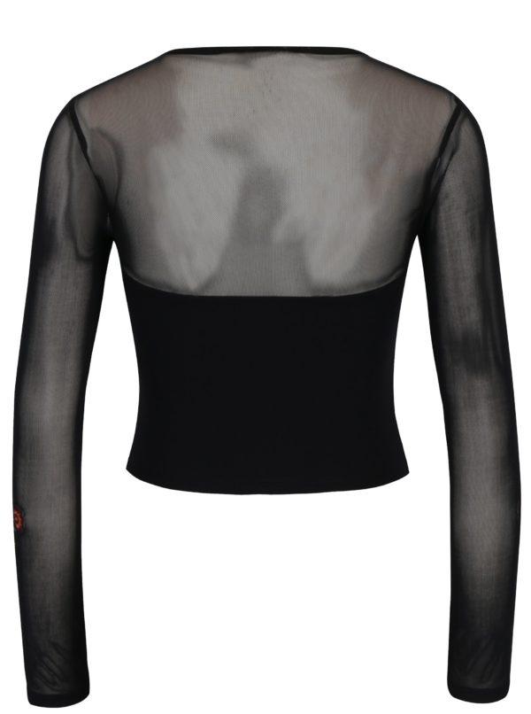 Černé tričko s výšivkami Miss Selfridge