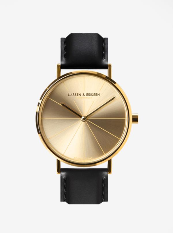 Unisex hodinky v zlatej farbe s čiernym koženým remienkom LARSEN & ERIKSEN  37 mm