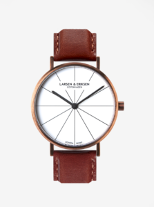 Unisex hodinky v medenej farbe s hnedým koženým remienkom LARSEN & ERIKSEN  37 mm
