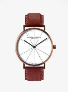 Unisex hodinky v medenej farbe s koženým remienkom LARSEN & ERIKSEN 41 mm