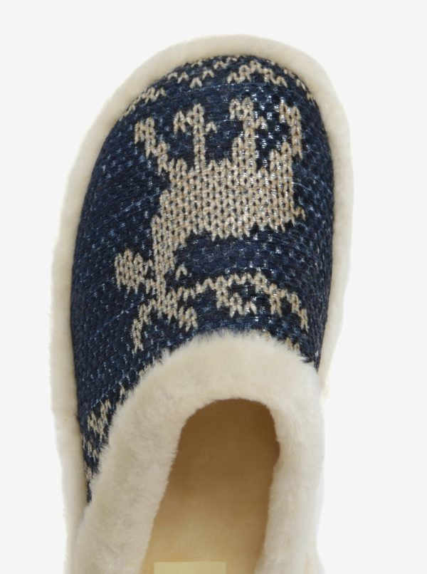 Tmavomodré zateplené papuče OJJU