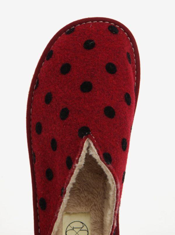 Červené bodkované papuče OJJU