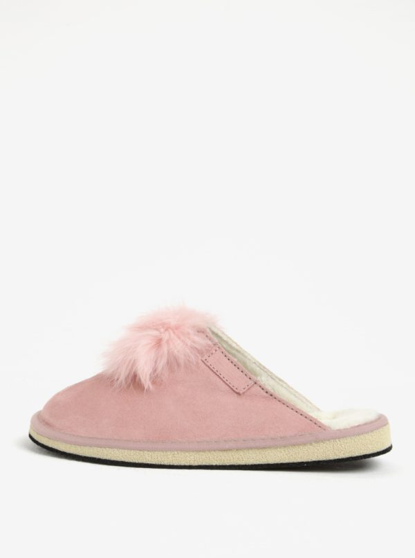 Ružové semišové papuče s brmbolcom OJJU