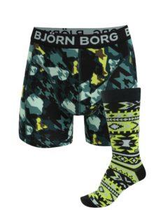 Zelená súprava boxeriek a ponožiek Björn Borg