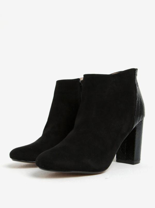 Čierne členkové topánky v semišovom zhotovení Dorothy Perkins