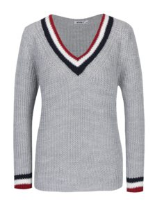 Sivý sveter s véčkovým výstrihom Haily´s Giulia