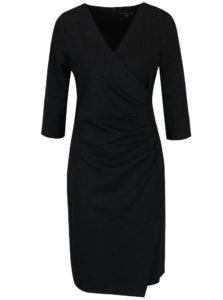 Čierne šaty s prekladaným výstrihom a zberkaním na boku Smashed Lemon