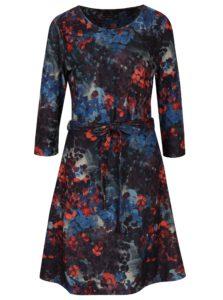 Červeno-modré vzorované šaty s 3/4 rukávom Smashed Lemon