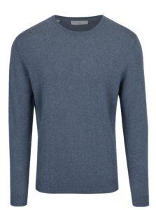 Modrý sveter s prímesou hodvábu Selected Homme Tower