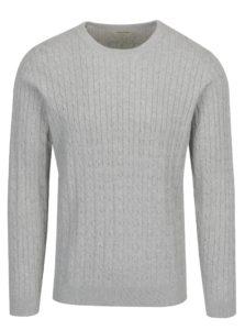Svetlosivý melírovaný sveter Selected Homme Clayton