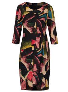 Ružovo-čierne vzorované šaty so zberkaním na boku Smashed Lemon