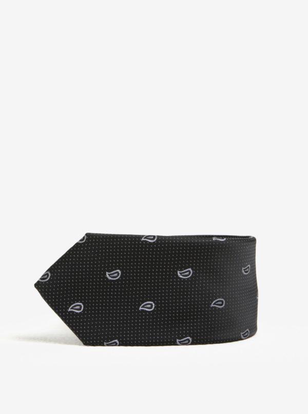 Čierna vzorovaná kravata Selected Homme Xin Tie