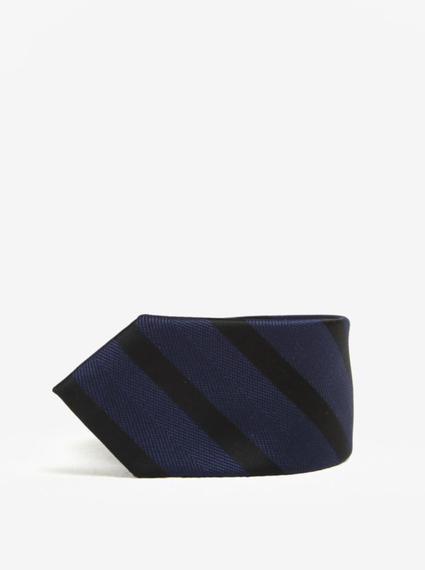 Čierno-modrá pruhovaná kravata Selected Homme Xin Tie