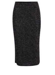 Čierna vzorovaná metalická sukňa Dorothy Perkins
