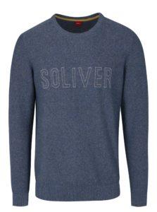 Modrý pánsky melírovaný sveter s nápisom s.Oliver