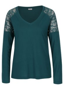 Tmavozelené tričko s čipkou na ramenách Jacqueline de Yong Parvola