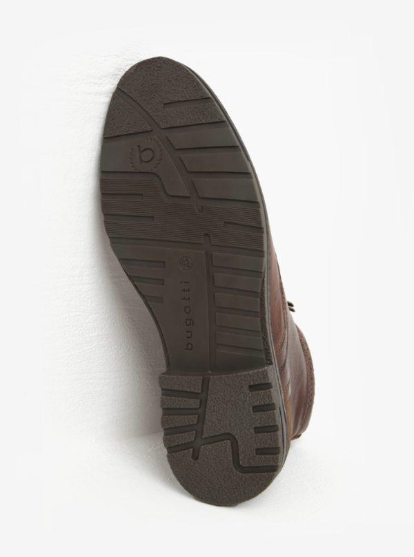 Hnedé pánske kožené členkové zimné topánky bugatti Ringo