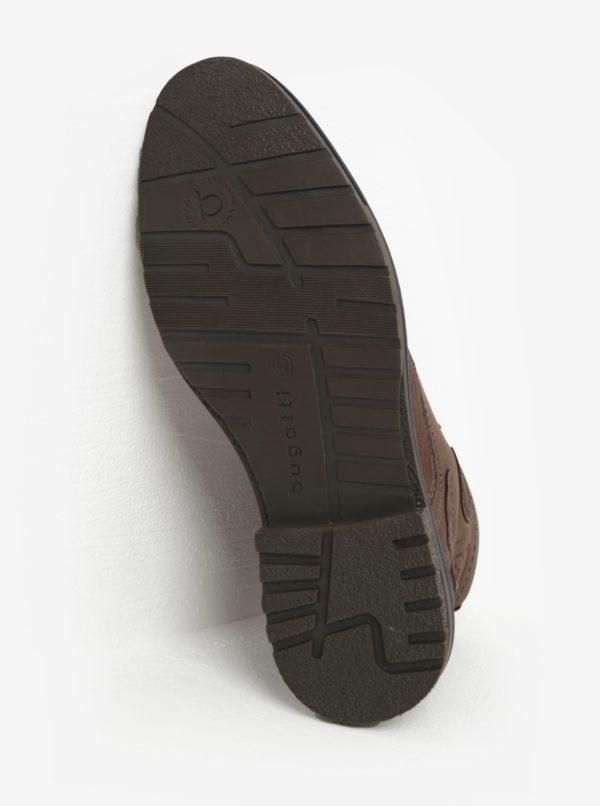 Tmavohnedé pánske kožené členkové zimné topánky bugatti Ringo