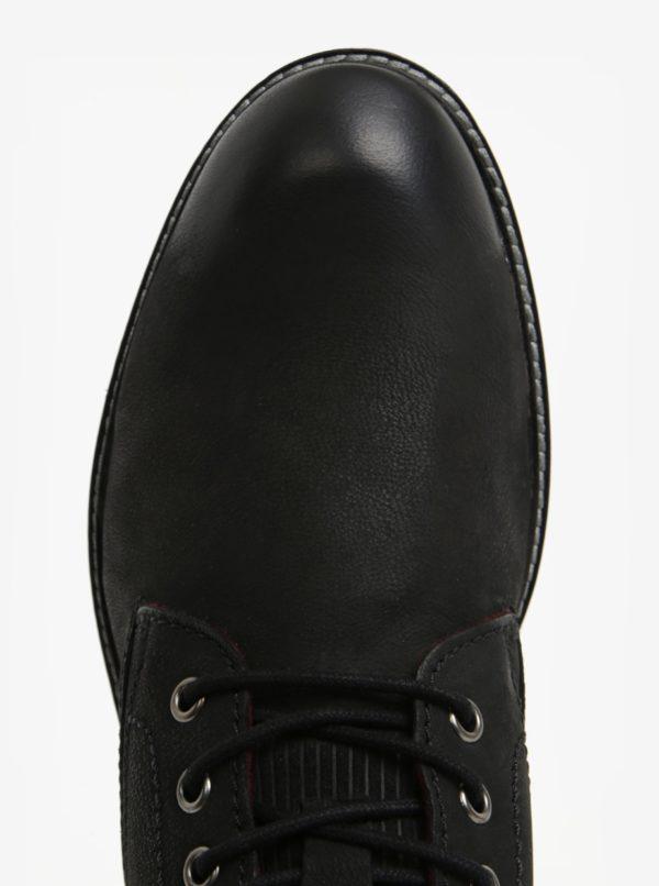 Čierne pánske kožené členkové zimné topánky bugatti Ringo
