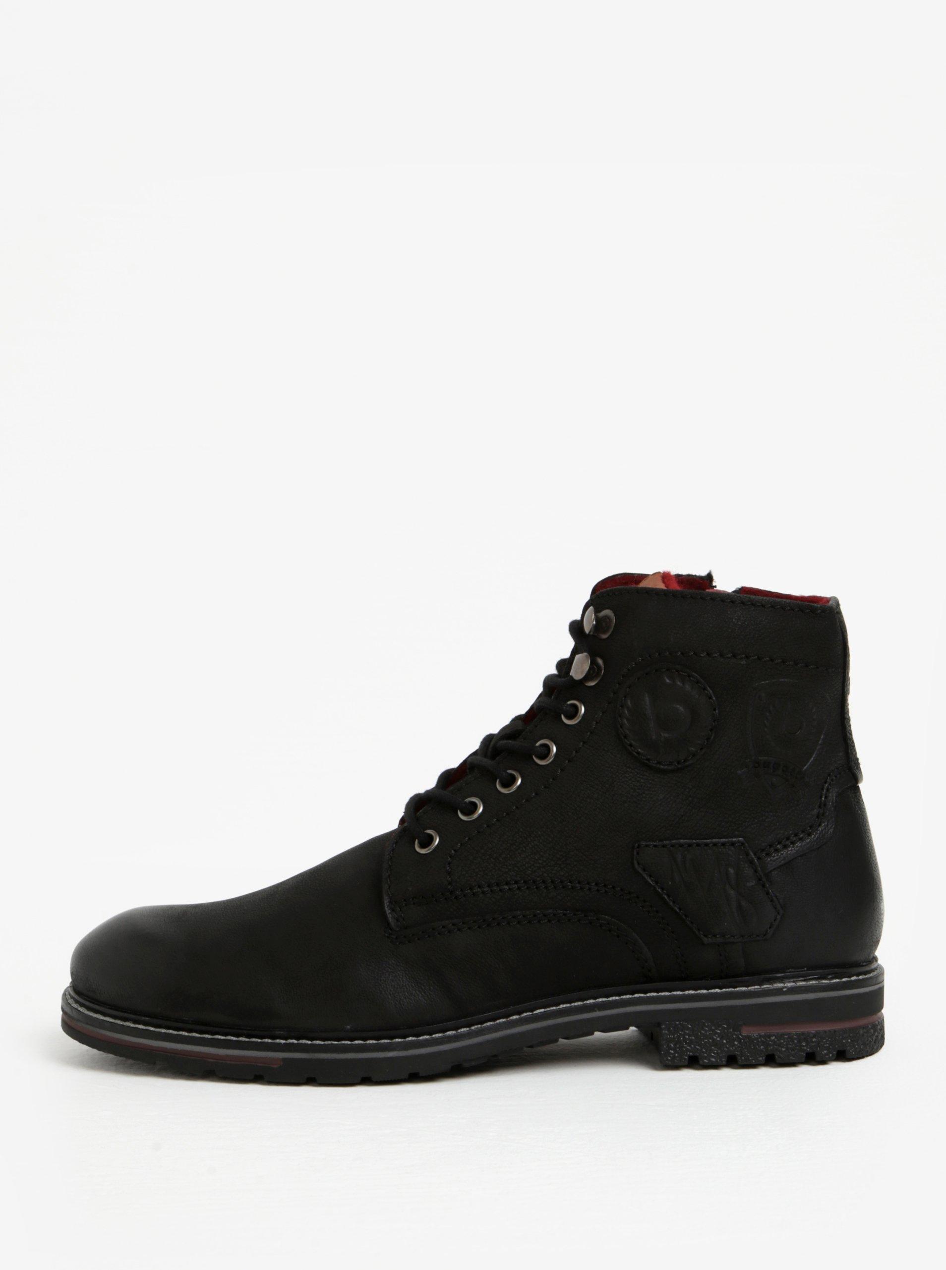 8cbdbae7de87 Čierne pánske kožené členkové zimné topánky bugatti Ringo