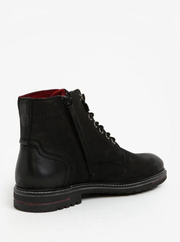 Čierne pánske kožené členkové zimné topánky bugatti Ringo  11b700f6129
