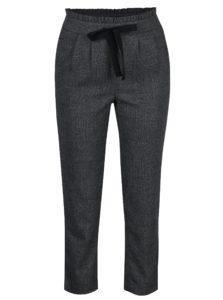 Tmavosivé melírované nohavice s mašľou a vysokým pásom ONLY Margo