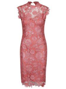 Koralové čipkované šaty Paper Dolls