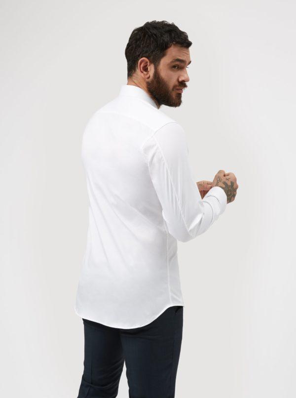 Biela formálna slim fit košeľa odolná proti škvrnám LABFRESH