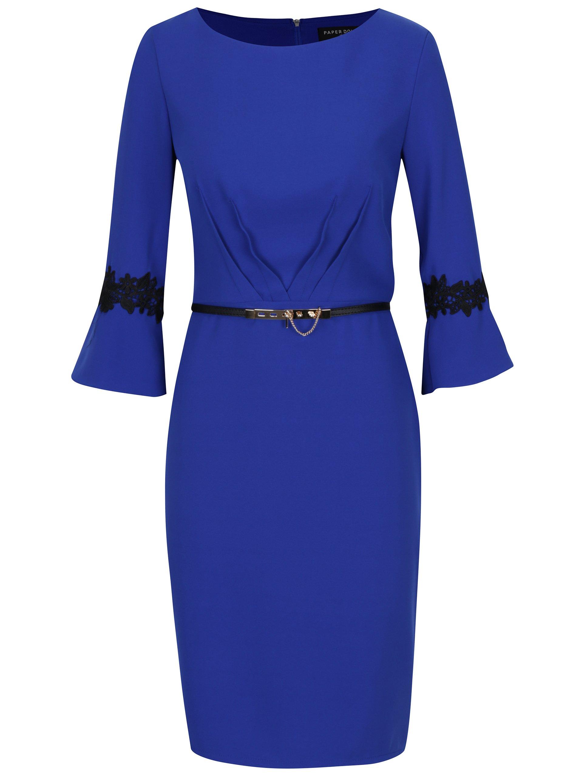 Modré šaty s opaskom Paper Dolls  aca1ba5f70d