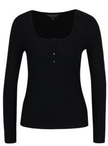 Čierne tričko s gombíkmi Miss Selfridge