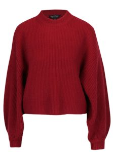 Vínový krátky sveter s prímesou vlny a balónovými rukávmi Miss Selfridge