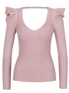 Ružový trblietavý sveter so zberkaním na rukávoch Miss Selfridge