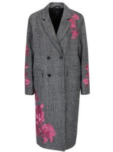 Krémovo-čierny vzorovaný kabát s výšivkou Miss Selfridge