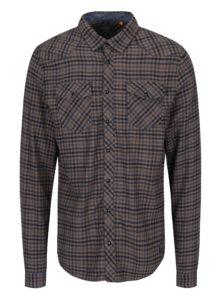 Modro-hnedá kockovaná slim fit košeľa Blend