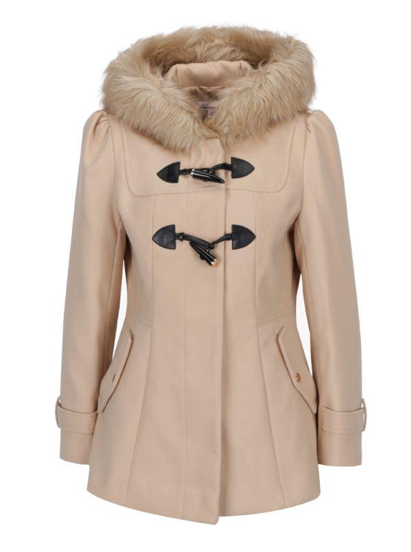 Béžový krátky kabát s umelým kožúškom Miss Slefridge Petites