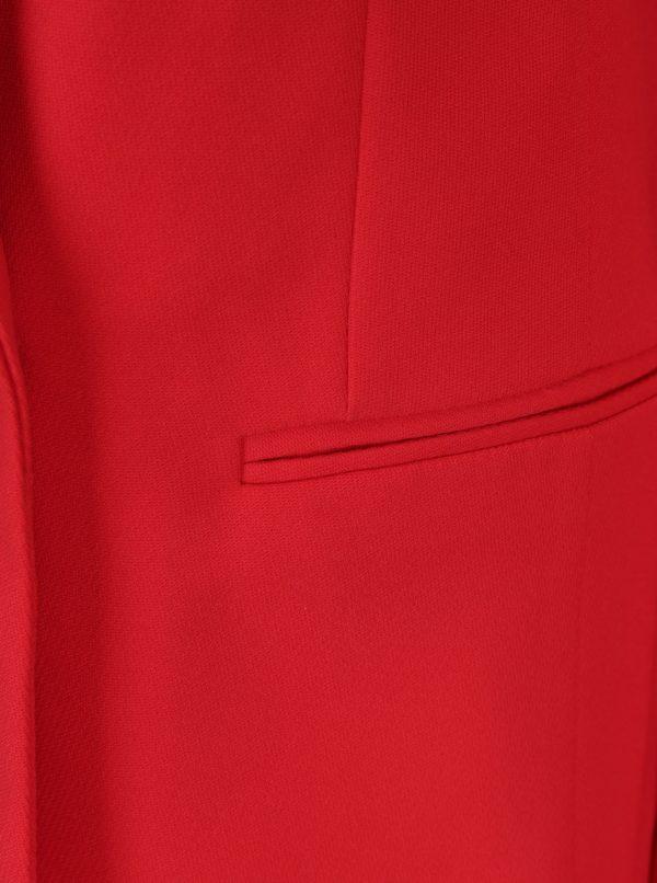 Červené dlhé sako s gombíkmi v zlatej farbe Miss Selfridge