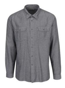 Krémovo-čierna vzorovaná tailored fit košeľa Barbour Bow