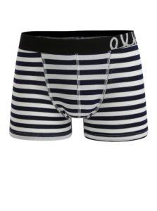 Modro-biele pánske pruhované boxerky El.Ka Underwear