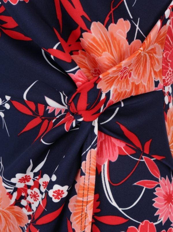 Červeno-modré kvetované šaty s prekladanou sukňou Dorothy Perkins