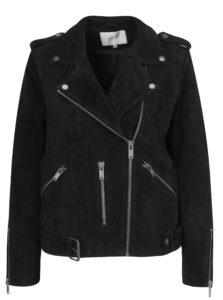 Čierna kožená bunda Selected Femme Sanella