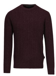 Vínový melírovaný vlnený sveter s prímesou ľanu Barbour Essential Cable