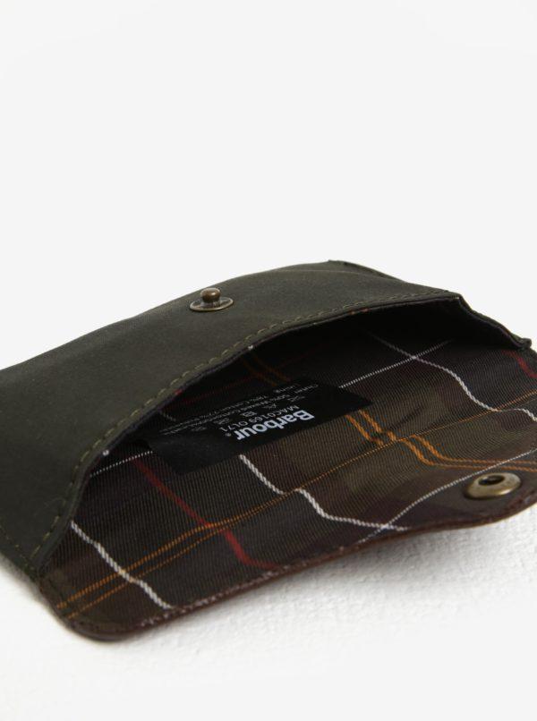 Hnedo-kaki pánske kožené puzdro na okuliare Barbour Drywax