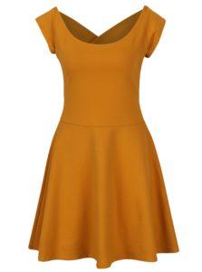 Horčicové šaty s pásikmi na chrbte ZOOT
