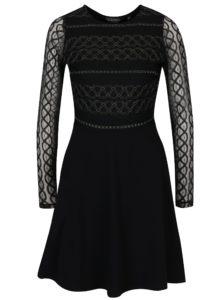 Čierne šaty s priesvitnými rukávmi Dorothy Perkins